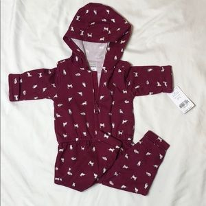 6 month unisex one piece hooded outfit